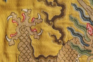 Antique Chinese 19th Century Kesi Silk Dragon Panel Imperial Yellow ESTATE FIND 9