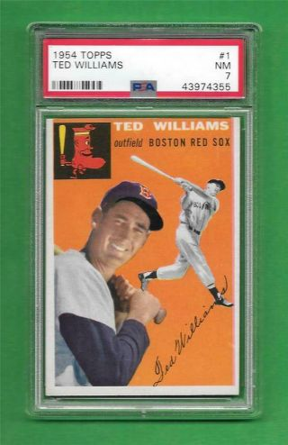 1954 Topps 1 Ted Williams Psa Nm 7 Boston Red Sox Vintage Baseball Card
