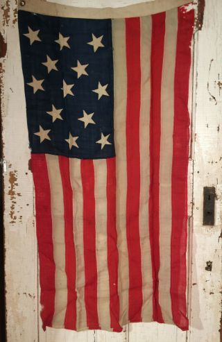 Rare Authentic Antique 13 Star United States Flag Civil War Entirely Hand Sewn