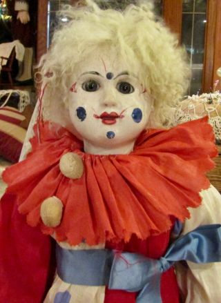 """Antique 25 """" French Compo Factory Clown W/lambswool Wig Rare Doll,"""