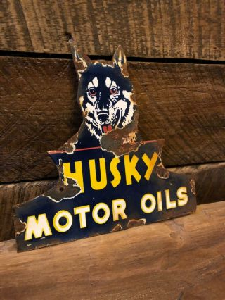Vintage Husky Oils Gas Pump Porcelain Sign Shell Gulf Texaco Antique Oil Can Old
