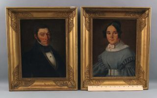 Pair Antique 19thc Portrait Paintings,  American Empire Period Husband & Wife
