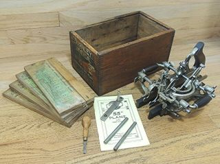 1895 Stanley No 55 Universal Combination Plane W/cutters - Antique