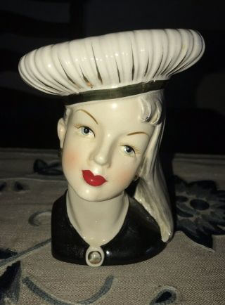 "Extremely Rare Teen Head Vase.  7""tall.  A Real Beauty"
