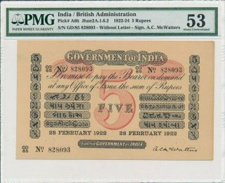 Government Of India India 5 Rupees 1922 Rare For Pmg 53