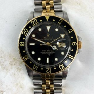 Vintage Rolex Gmt - Master Two - Tone Black And Gold Wristwatch Ref.  16753 Full Set