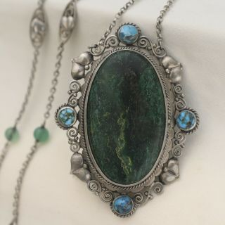 Vtg Antique Arts & Crafts 900 Silver Turquoise Chrysoprase Pendant Necklace