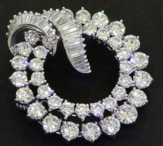 Vintage 1950s Heavy Platinum 10ctw Vs1/f Diamond Cluster Circle/wreath Brooch
