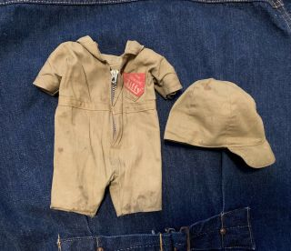 Vtg Buddy Lee Composition Doll Jiffy Coverall Hat Talon Hookless Zipper 20s 30s