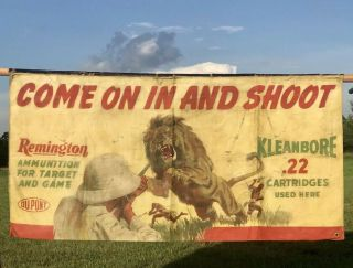 Vtg Remington Shooting Gallery Canvas Banner Kleanbore.  22 Ammo Not Winchester