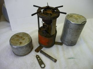 Wwii U.  S.  Military Coleman 520 Gasoline Camp Stove 1944 & Funnel Wrench Parts