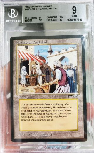 Vintage Magic | Mtg Bgs 9 Arabian Nights Bazaar Of Baghdad,  W/9.  5,  10