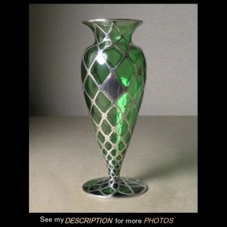 Antique Alvin Mfg Art Nouveau Sterling Silver Overlay Green Glass Vase