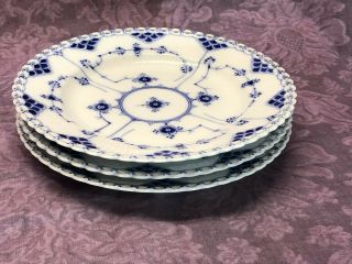 Vintage Set 3 Royal Copenhagen Blue Fluted Full Lace Luncheon Lunch Plate 1085