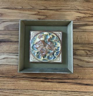 """Architectural 6 """" Tile 9 1/2 """" Frame 3d Green Brown Ivory Tan Pottery Arts&crafts"""