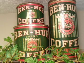 Ben Hur Coffee Tins By Joannes Bros Los Angeles Rare