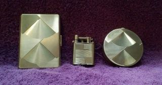 Vintage Gold Art Deco Cigarette Case,  Lighter & Compact Case By Oesterreicher
