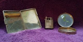 Vintage gold art deco cigarette case,  lighter & compact case by Oesterreicher 2