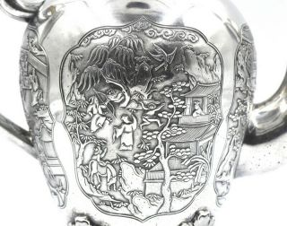 CHINESE EXPORT SILVER TEAPOT JAPANESE AESTHETIC KHECHEONG CANTON c1850 10