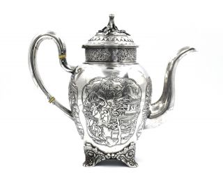 CHINESE EXPORT SILVER TEAPOT JAPANESE AESTHETIC KHECHEONG CANTON c1850 3