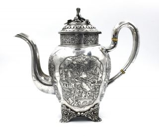 CHINESE EXPORT SILVER TEAPOT JAPANESE AESTHETIC KHECHEONG CANTON c1850 4