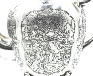 CHINESE EXPORT SILVER TEAPOT JAPANESE AESTHETIC KHECHEONG CANTON c1850 8