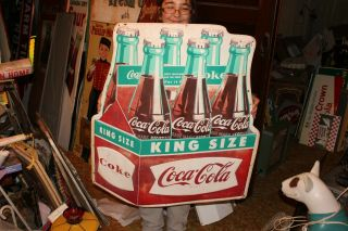 "Rare Vintage C1960 Coca Cola Fishtail King Size Soda Pop 36 "" Embossed Metal Sign"