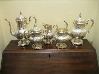 International Sterling Silver Richelieu Hand Chased 5pc Tea / Coffee Set