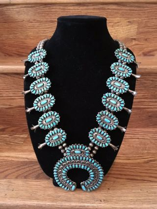 Vntg Victor Moses Begay Navajo Sterling Silver Turquoise Squash Blossom Necklace