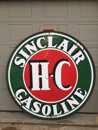 Vintage Sinclair H C.  Gasoline Sign 6 Foot 2 Sided