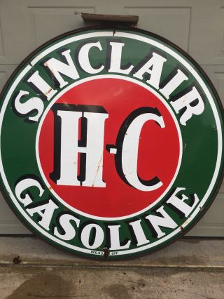 Vintage Sinclair H C.  Gasoline Sign 6 Foot 2 Sided 9