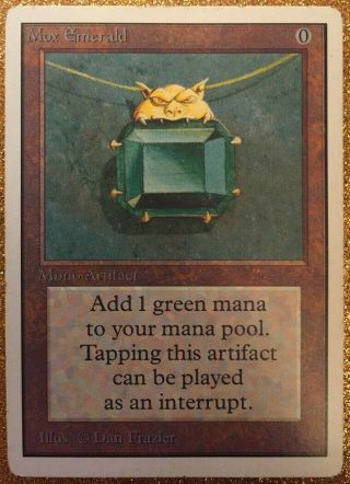Mtg Unlimited Mox Emerald Power 9 Magic The Gathering Played