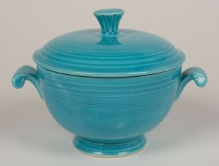 Turquoise Covered Onion Soup - Vintage Fiesta - Ultra Scarce