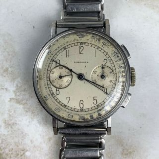 Vintage Longines 13zn Chronograph Wristwatch 35mm Art - Deco Numerals Nr
