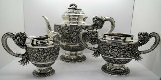Chinese Export Silver 3 Piece Dragon Handled Tea Set.  Gemwo 1890.  1,  771 Grams
