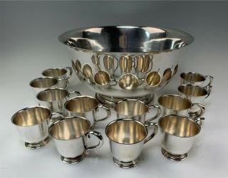 "Huge 14 "" International Sterling Silver Paul Revere D264 Punch Bowl Set W/12 Cups"