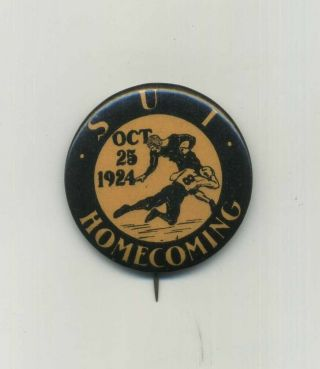 1924 University Of Iowa Hawkeye Football Homecoming Pin Back Button Vtg Antique