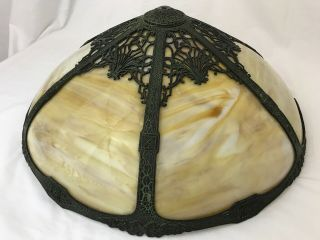 """Antique Vtg Tiffany Style Slag Stained Glass Lamp Shade Arts & Crafts Large 19 """""""