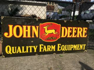 Large Vintage Double Sided Porcelain John Deere Sign 60""