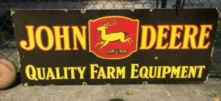 "Large Vintage DOUBLE Sided Porcelain John Deere Sign 60"" 2"