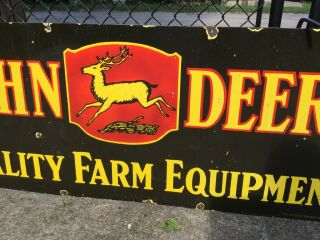 "Large Vintage DOUBLE Sided Porcelain John Deere Sign 60"" 8"