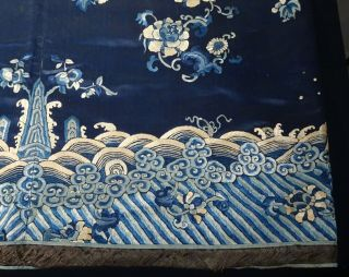 Chinese Blue Embroidered Silk Panel - 55774