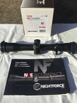 Nightforce Nxs 2.  5 - 10x32 Scope Mil - Dot C454 Rare