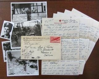 "Wwii Letters,  D - Day France,  Bulge 1st Div "" Shot Ack Ack Guns At Us "" Kia Related"