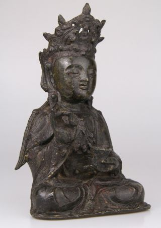Antique Chinese Bronze Buddha Statue Ming Dynasty 16th 17th C. 2