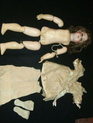 """Antique 18 """" Jumeau French Bebe Doll,  Bisque Depose Head E8j,  Compo/wood Body"""