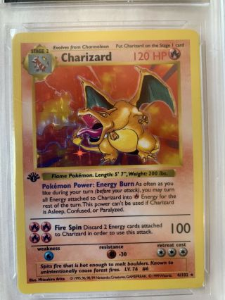 Pokémon Charizard Base Set 1st Edition Rare Holo Shadowless 4/102 Psa 9/9.  5