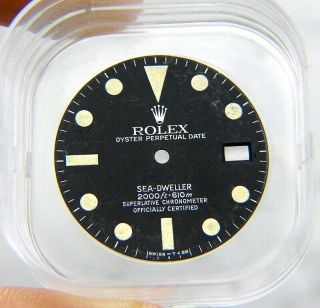 Vintage Factory Rolex Sea - Dweller 1665 Matte Black Beyeler Watch Dial