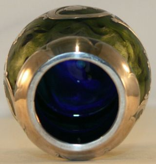 Rare Loetz Titania Silver Overlay Art Glass Vase with Cobalt Blue,  Green,  Silver 12