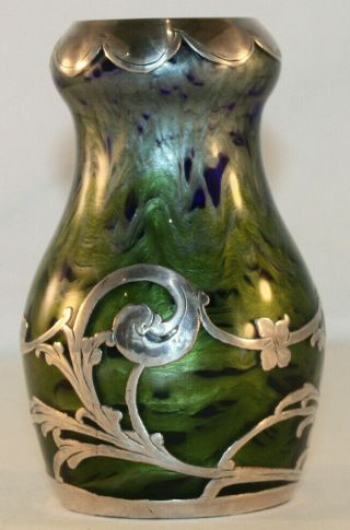 Rare Loetz Titania Silver Overlay Art Glass Vase With Cobalt Blue,  Green,  Silver
